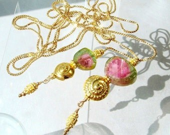 Watermelon Tourmaline Necklace, Gold Lariat, Tourmaline Jewelry Hill Tribe Long Lariat Luxury Heirloom Jewelry Metaphysical Gemstones Magick