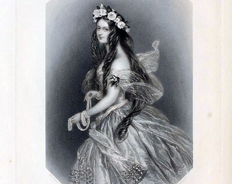 antique victorian portrait beautiful woman undine illustration digital download