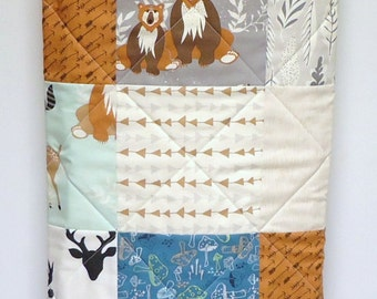 Rustic Baby Quilt-Modern Woodland Baby Boy Crib Bedding-Hello Bear Quilt-Deer-Fox Baby Blanket-Art Gallery Fabric-Gray-Mint-Teal-Navy-Arrows
