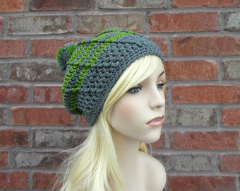 Gray Hat, Pom Pom Hat, Gray and Green, Slouchy Beanie, Womens Hats, Teen Girl Gifts, Winter Hat, Cute Beanie, Pom Pom Beanie, Slouch Beanie