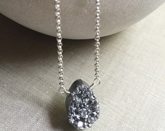 Druzy Necklace, Druzy Teardrop Necklace, Titanium Silver Metallic Pendant, Sterling Silver Chain Necklace, Minimal Jewelry, Druzy Jewelry