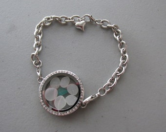 Locket Bracelet, Crystal Locket, Sea Glass Bracelet, Beach Glass Jewelry, Turquoise Sea Glass, Gift for Women