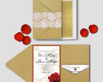 Wedding Invitation - Rose & Gold Swirls - Deposit