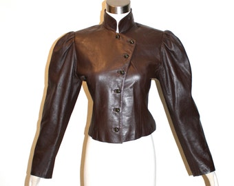 UNGARO PARALLELE Vintage Leather Jacket Brown Victorian Blazer - AUTHENTIC -