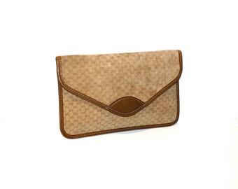 GUCCI Vintage Clutch Monogram Suede Handbag - AUTHENTIC -