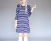 Striped navy shift dress / Nautical jersey tunic / Casual long Tshirt - 20% Off - On sale
