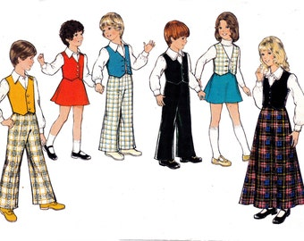 70s Girls Maxi Skirt Blouse Boys Shirt Vest Pants Pattern Style 4919 Vintage Sewing Pattern Size 6 Chest 25 inches