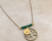 Tree of Life Necklace, Initial Necklace, Beaded Necklace, Handstamped Necklace, Best friend Gift, Handmade