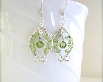 Peridot Earrings, Silver Wire, Sterling Silver, Wire Wrapped, Faceted Peridot, Apple Green Peridot, 920