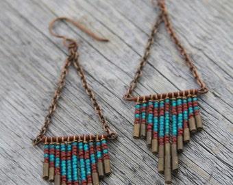 ASHLEY. Maroon, blue, and bronze glass seed beaded earrings. B-59