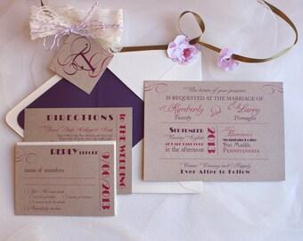 Modern Rustic Wedding Invitation Suite / Purple Wedding Invite / Lace Invitations / Kimberly Mixed Font Design Sample