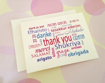 Thank You Cards, Different Languages, Note Cards, Set of 6