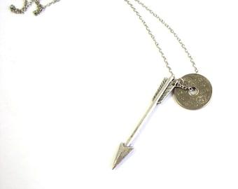 silver arrow and coin necklace . 1947 coin necklace