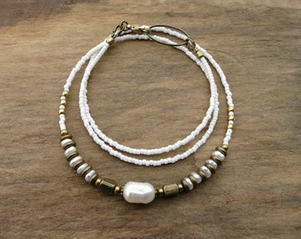Dainty Pearl Necklace, rustic modern white and gold freshwater pearl bead necklace, unique June birthstone jewelry