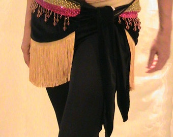 Belly dance Hip scarf in black velvet with shimmering gold and pink, pink beads and golden yellow fringe