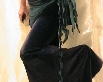 ATS Tribal Belly dance hip scarf, hip skirt, hip belt, apron  Seaweed skirt in Bottle Green stretch velvet