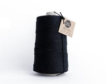 Jumbo Solid Black Cotton Twine / 750 Yards / 100% Cotton