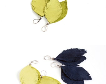 Suede leather feather earrings in lemon and navy blue. Set of two pairs