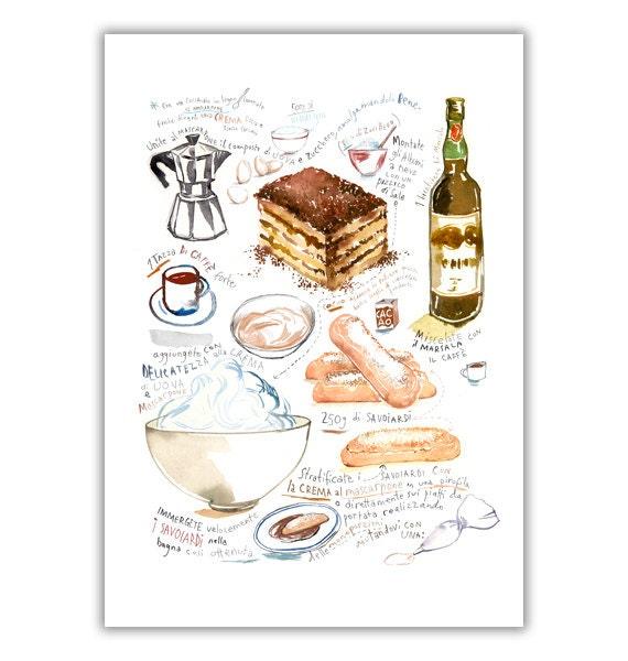 Large poster of Tiramisu illustrated recipe by lucileskitchen