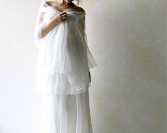 Bridal shawl, wedding shawl, silk shawl, wedding scarf, wedding sash, silk sash, chiffon scarf, chiffon shawl, bridal wrap, white stole