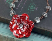 Red Coke Rose and Crystal Bead Necklace. Recycled Soda Can Flower Art.