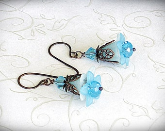 Clearance Sale - Aqua Lily Flower Earrings Victorian Earrings in Antique Copper, Victorian Jewelry