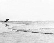 "Black And White Beach Art , Surfer Wall Art, Large Art, Extra Large Art, Black And White , Extra Large Wall Art  ""BW Surfer"""