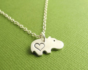 Tiny Heart Hippo Necklace, Baby Hippo Love, Fine Silver, Sterling Silver Chain, Made To Order