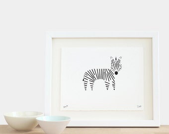 Zebra - limited edition A5 zebra print black white children's birthday mothers fathers day Christmas gift idea
