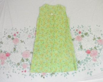 60's 70's green semi sheer gauzy shift dress 1970's floral a-line ligh soft thin sheer hippie house dress nightie button up sun dress S