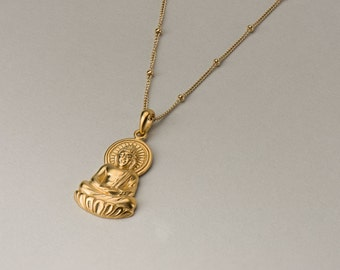 Large Gold Buddha Necklace - Yoga Jewelry . 24K Gold Dipped Buddha Charm . 14K Gold Filled Satellite Chain