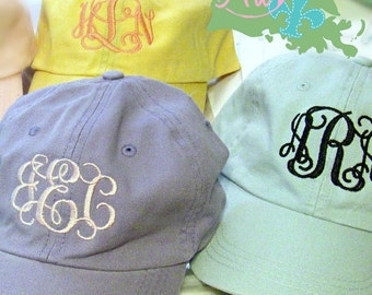 CLEARANCE Discontinued Colors LADIES Monogram Baseball Cap Hat FABRIC strap Mom Bridesmaid Bride Bachelorette College