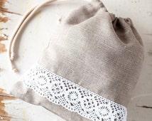 Linen bread bag - Linen bread keeper -  Drawstring bag - bread bag - Linen lace gift bag - Lingerie travel bag -