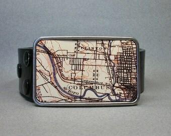 Belt Buckle Columbus Ohio Vintage Map Cool Gift for Men or Women