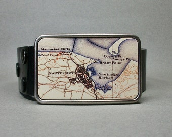 Belt Buckle Nantucket Massachusetts Map Unique Gift for Men or Women