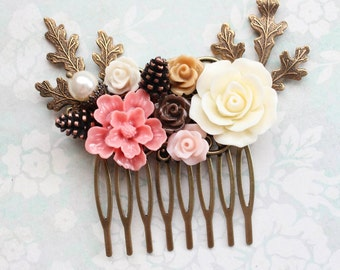 Coral Pink Bridal Hair Comb Earth Tone Woodland Wedding Pearl Rustic Nature Branch Pine cone Leaves Ivory Cream Roses Pretty Bridesmaid Gift