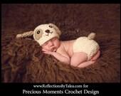 Newborn Photo Prop - Newborn Puppy Hat, Baby Puppy Hat and Diaper Cover, Crochet Puppy Hat, Newborn Boy Hat, Newborn Crochet PHOTO PROP