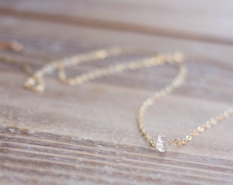 Herkimer Diamond Necklace - Gold or Silver Layering Necklace Tiny Diamond Necklace Simple Necklace - April Birthstone - Mother's Day Gift
