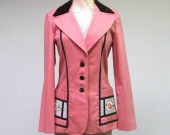 Vintage 1960s Jacket / 60s Coral Brushed Denim Boho Laurel Canyon Blazer / Small