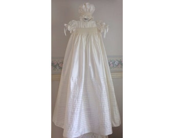 Christening Gown Exquisite and Breathtaking,Ivory Silk,Long,Baptism,Hand smocked,Handmade,Bonnet and Petticoat, 6 months,Ready to Ship