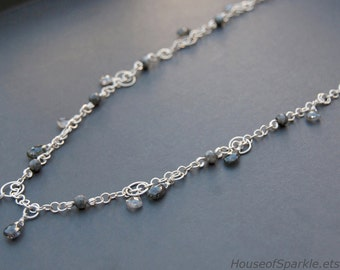 Sterling silver chainmaille necklace with black quartz. Gemstone chain necklace. Long sterling silver chain necklace.