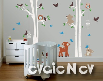 Deer, Teddy Bears, Birds and Trees Wall Decal -  Woodland Nursery Wall Decals, Baby Nursery Decal and Baby Nursery Sticker -  PLFR060