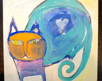 Cat 10 x 10 original acrylic painting on professional wood panel, cat painting, abstract painting, cat lover, cats