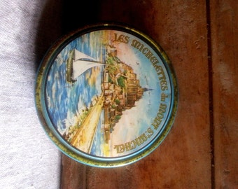 Vintage French Mont St Michel tin box