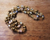 Vintage Two Strand Necklace Blue Pink White