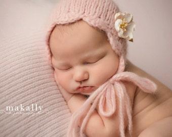 Newborn Photo Prop Bonnet, Newborn Alpaca Bonnet Newborn Photo Prop Bonnet Baby Prop Bonnet Gray Baby Bonnet, Ready to Ship, Newborn Size