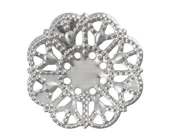 Filigree : 10 Antique Silver Filigree Flower Connectors Links   Platinum Filigree Metal Stampings -- Lead, Nickel & Cadmium Free 33889.S
