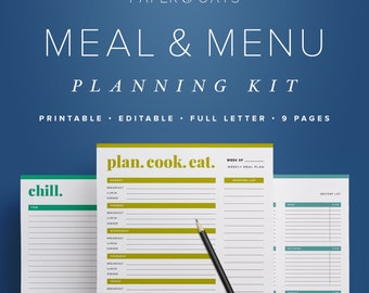 Meal Menu Planning Kit, Meal Planner Sheet, Daily Meal Planner, Weekly Meal Plan, Monthly Meal Planner, Healthy Meal Planner, Grocery List