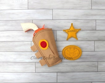 Toy Story Inspired Felt Woody Dress Up Pretend Costume Toy Gun Holster Badge and Buckle Set