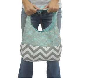 purse in chevron and lace. design your own large bag or medium. shoulder or cross body bag. gray lace and gray chevron